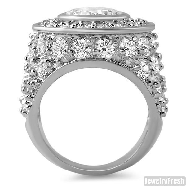 10.5 Carat Sterling Silver Big Rocks CZ Ring