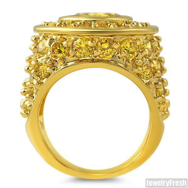10.5 Carat Canary CZ Big Rocks Custom Mens Ring