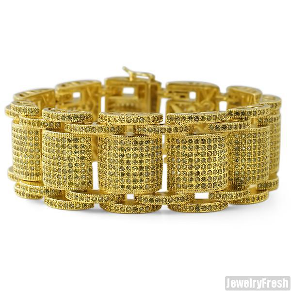 Gold Jumbo Bossman Simulated Canary Diamond Bracelet