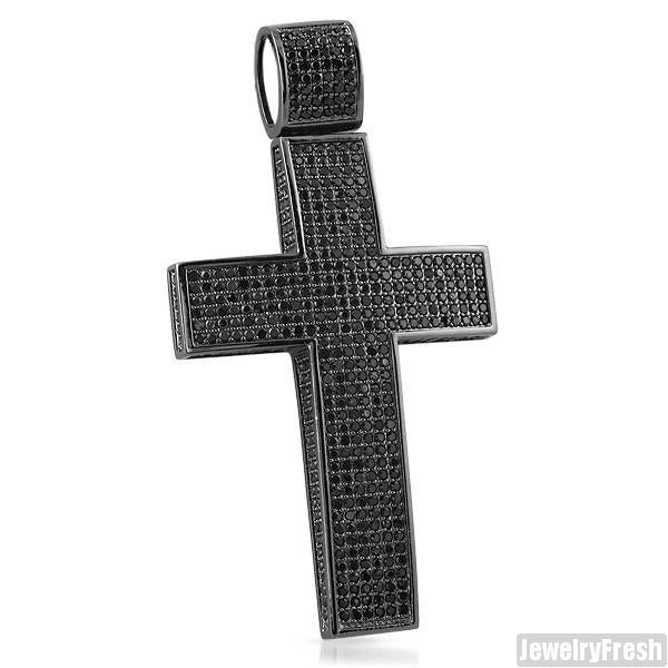 All Black Fully Iced Top and Sides Bling Cross
