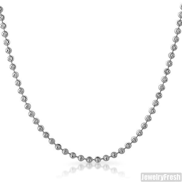 3mm 925 Sterling Silver Moon Cut Bead Chain