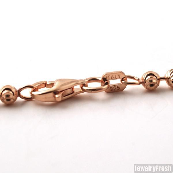 3mm 925 Silver Rose Gold Moon Cut Bead Chain