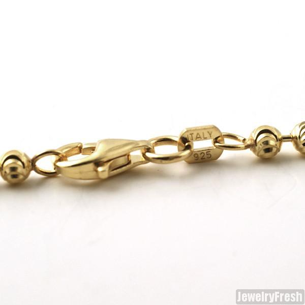 3mm 925 Silver Yellow Gold Moon Cut Bead Chain