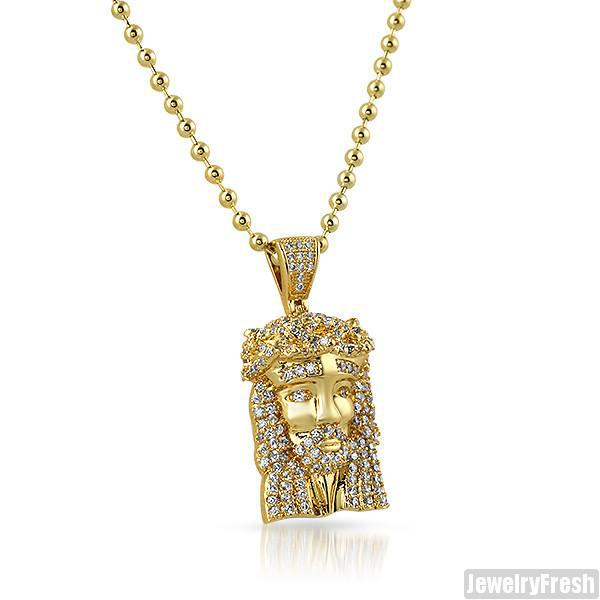 14k Gold Wrapped Lab Diamond Micro Jesus Piece