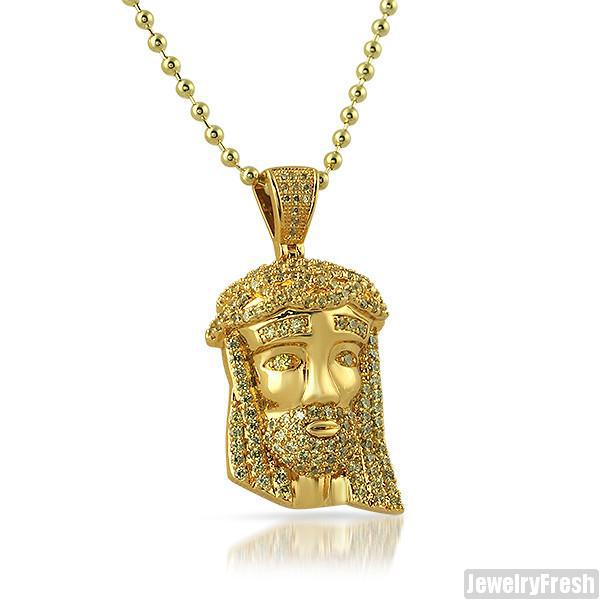 Canary Yellow Iced Out Mini Jesus Head Pendant