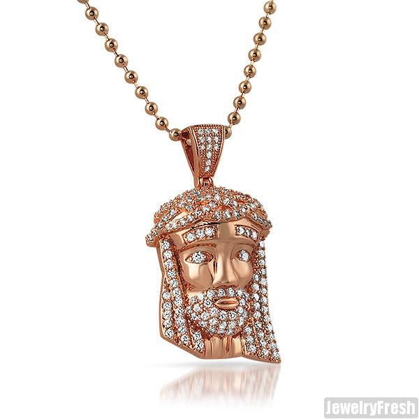 Rose Gold Iced Out Mini Jesus Head Pendant JewelryFresh
