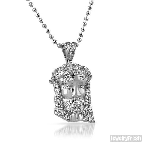 Rhodium Iced Out Mini Jesus Head Pendant