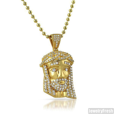 14k Gold Iced Out Mini Jesus Head Pendant