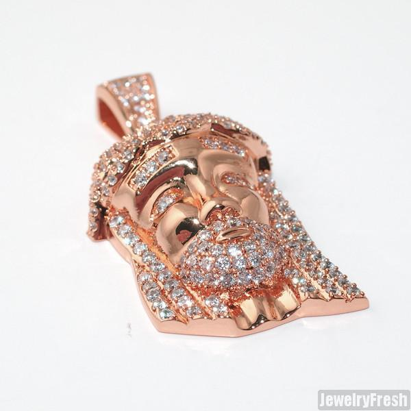 Rose Gold Iced Out Mini Jesus Head Pendant