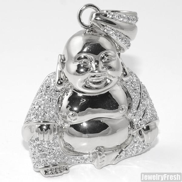 Platinum Custom Sitting Buddha Mini Pendant w/ Chain