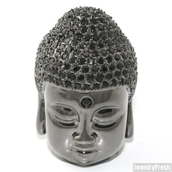 17.25 CTW Black Custom Full 3D Buddha Head Pendant