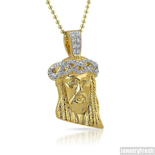 14k gold wrapped partially iced mini jesus piece set jewelryfresh 14k gold wrapped partially iced mini jesus piece set aloadofball Choice Image
