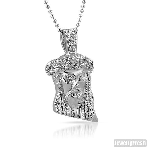 White Gold Finish Partially Iced Mini Jesus Piece Set