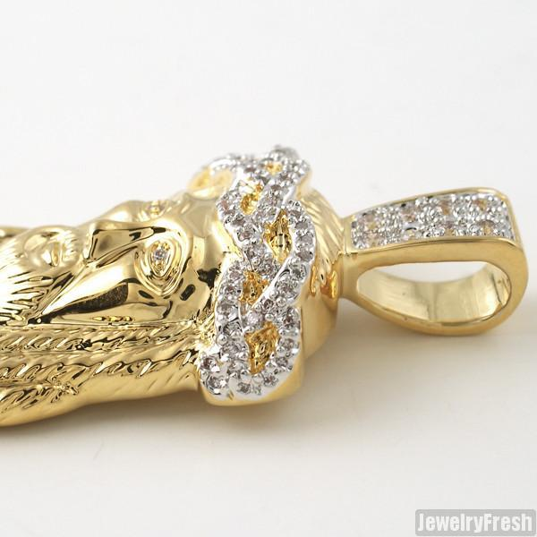 14k Gold Wrapped Partially Iced Mini Jesus Piece Set