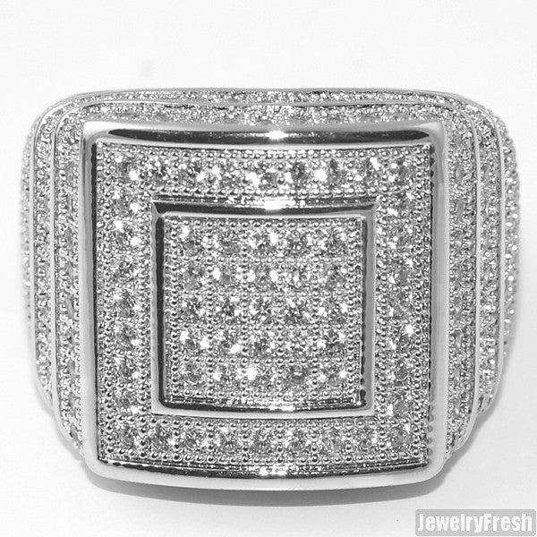 White Gold Finish 360 Micropave CZ Square Ring