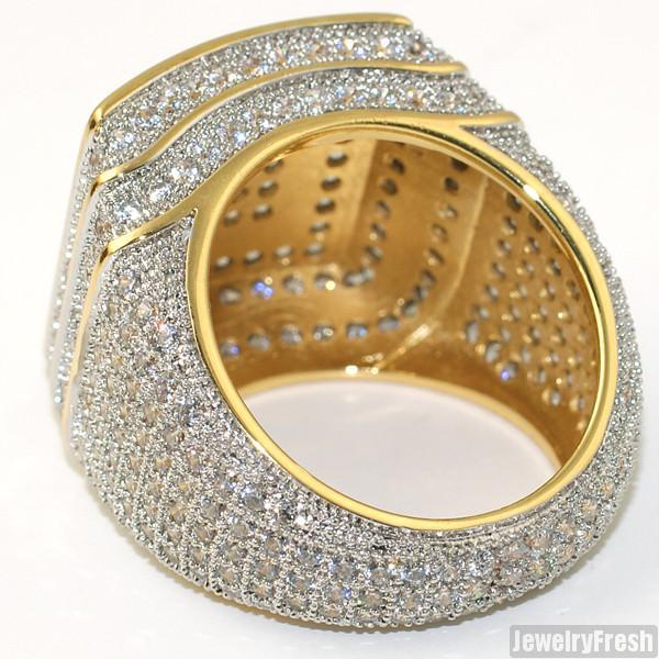 18k Gold Finish 360 Micropave CZ Square Ring