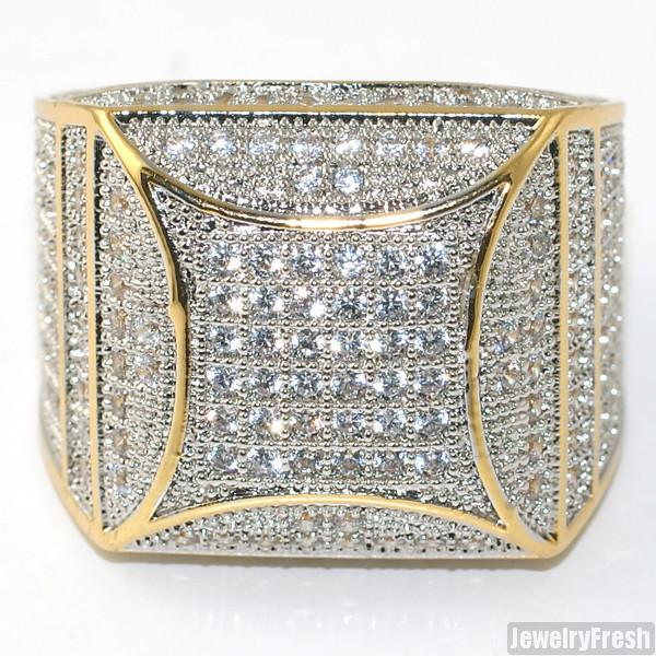 18k Gold Finish Fancy Square 360 CZ Micropave Ring