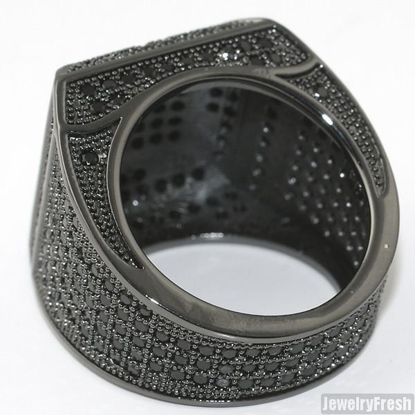 Black SImulated Diamond Fancy Square 360 Micropave Ring