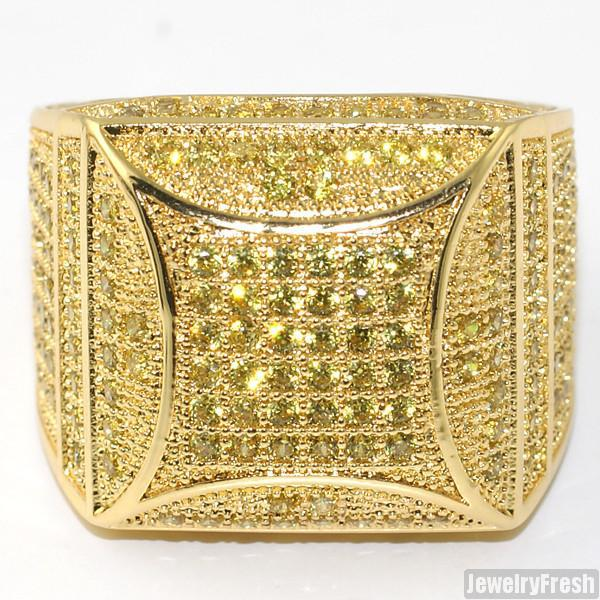 Canary Yellow Fancy Square 360 CZ Micropave Ring