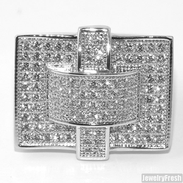 White Gold Tone Cross Style 360 CZ Micropave Mens Ring
