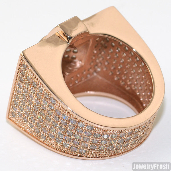 Large Rose Gold Cross Style 360 CZ Micropave Mens Ring