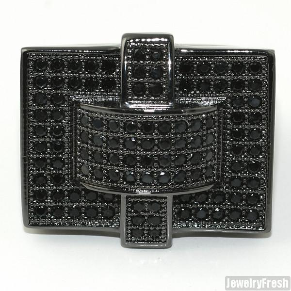 All Black Cross Style 360 CZ Micropave Mens Ring