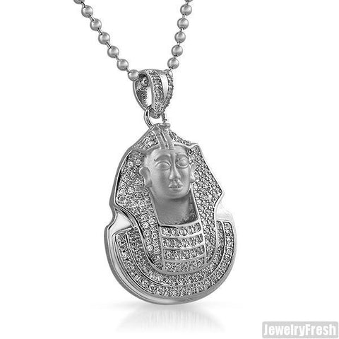 White Gold Wrapped Lab Diamond Mini Pharoah Pendant
