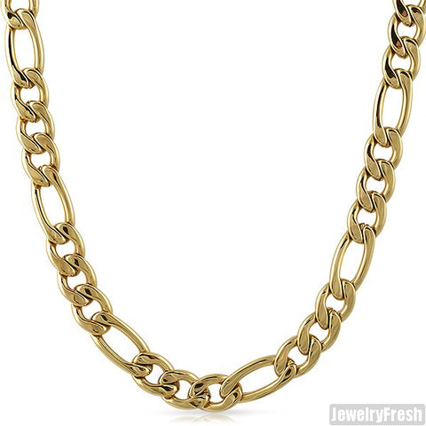 8mm 14K Gold IP Stainless Steel Figaro Chain