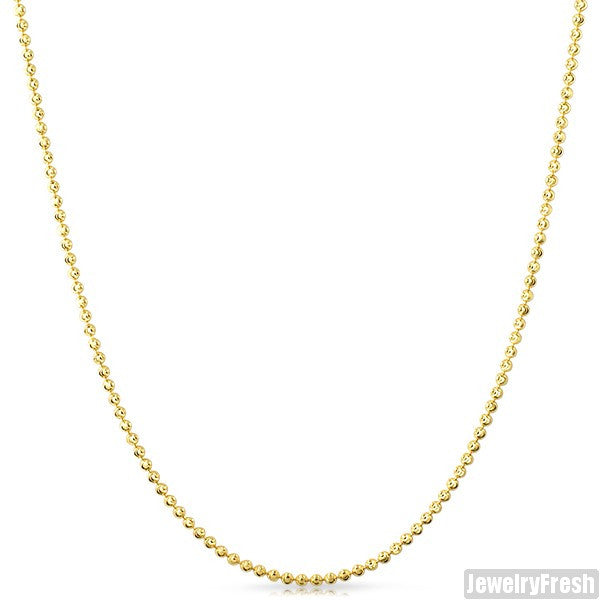 2mm 14k Gold Wrapped 925 Silver Moon Cut Bead Chain