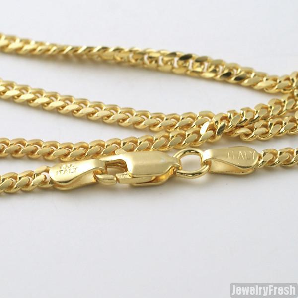 2.5mm 14k Gold Dipped 925 Silver Miami Cuban Chain