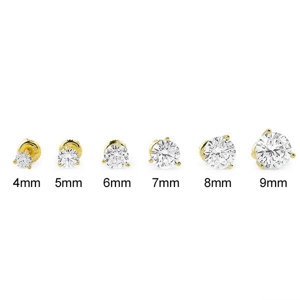Gold Finish Round Cut CZ Studs Screwback
