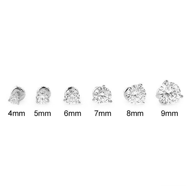 Silver Round Cut CZ Studs Screwback