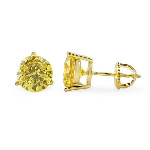 Canary Round Cut CZ Studs Screwback