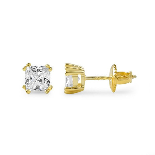 Gold Fancy Princess Cut CZ Studs Screwback