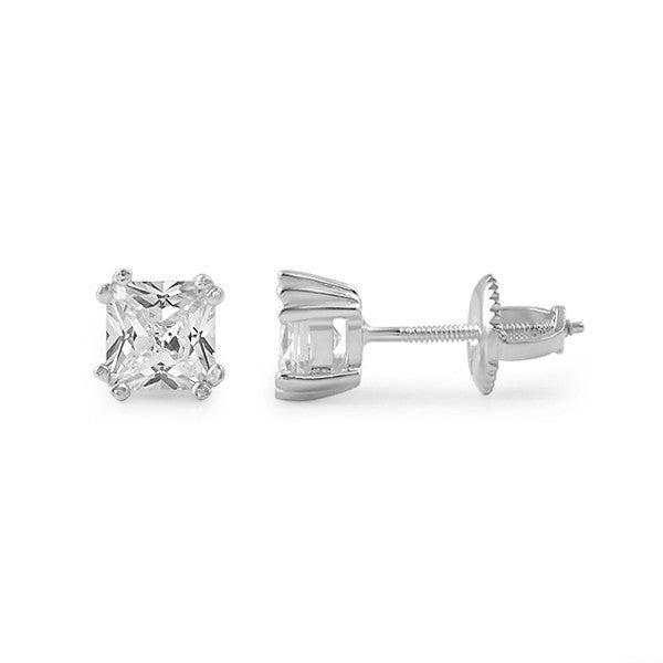 Silver Fancy Princess Cut CZ Studs Screwback