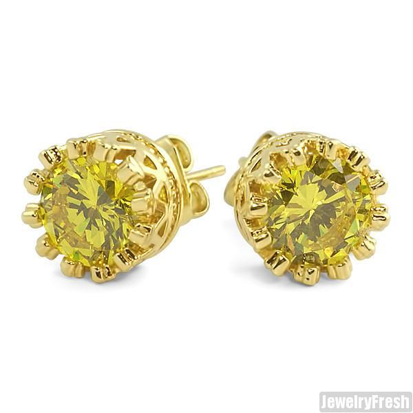 Canary Yellow Crown Set Stud Earrings Top Quality