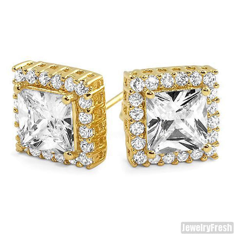 Gold 2 Carat Big Stone Princess Cut CZ Earrings