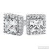 Rhodium 2 Carat Big Stone Princess Cut CZ Earrings