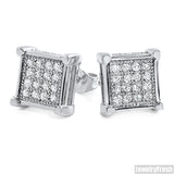 White Gold Finish Fancy Micropave Square Studs