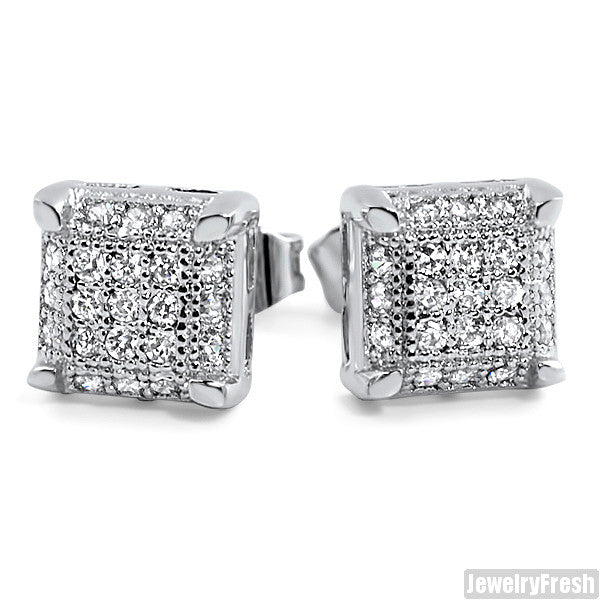 White Gold Finish Small Cube Micropave Earrings