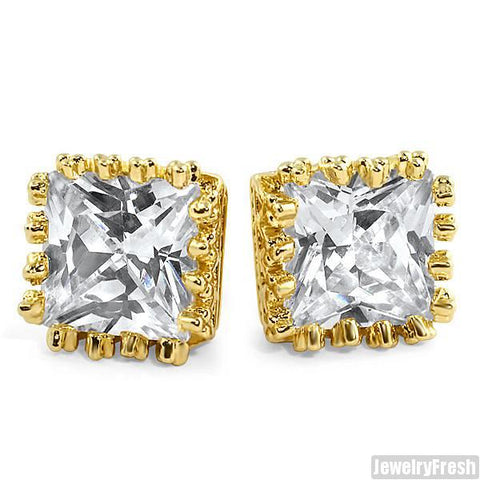 18k Gold Finish 2 Carat Princess Cut Crown Earrings