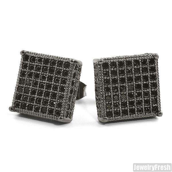 Black Large 360 Iced Micropave Box Earrings
