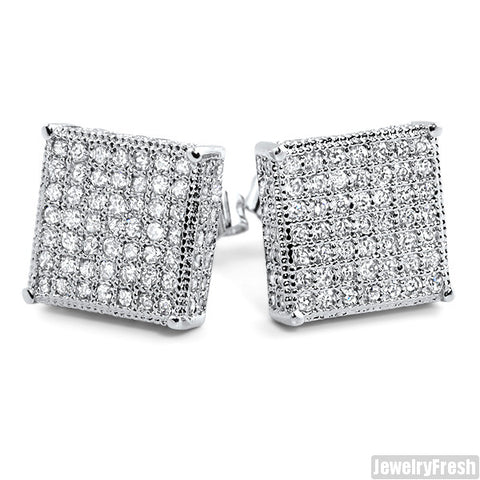 Rhodium Large 360 Iced Micropave Box Earrings