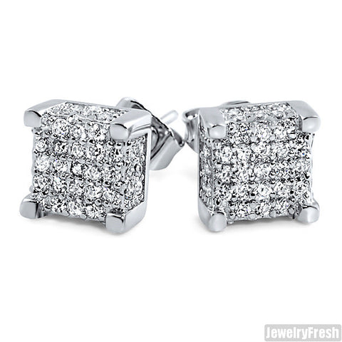 White Gold Finish Iced Out Box Stud Earrings