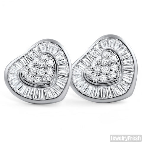 Rhodium XL Heart Shaped Custom Iced Out Earrings