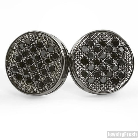 Black Micropave Button Simulated Diamond Earrings