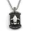 FORCE Steel Fleur de Lis Pendant Necklace Set