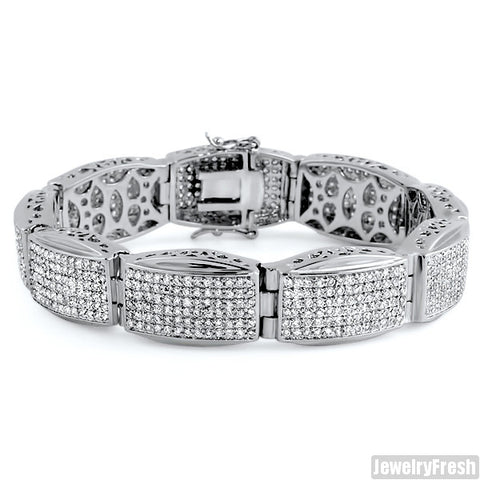 Rhodium Finish Oval Links Simulated Diamond Mens Bracelet