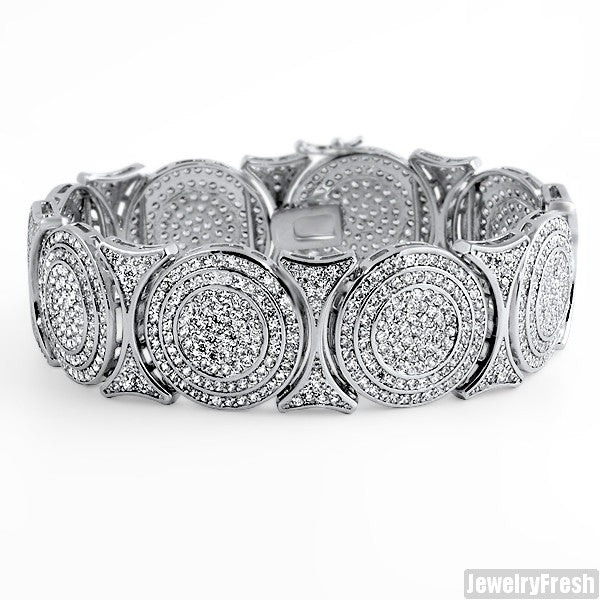 Rhodium Bullseye Custom Simulated Diamond Bracelet