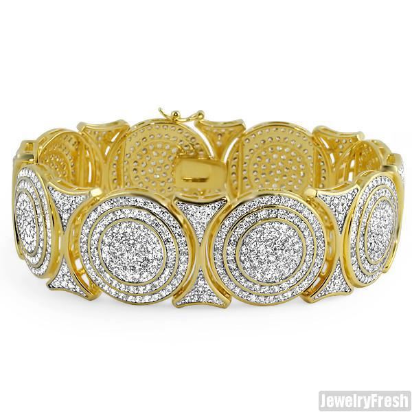 Gold Bullseye Custom Simulated Diamond Bracelet